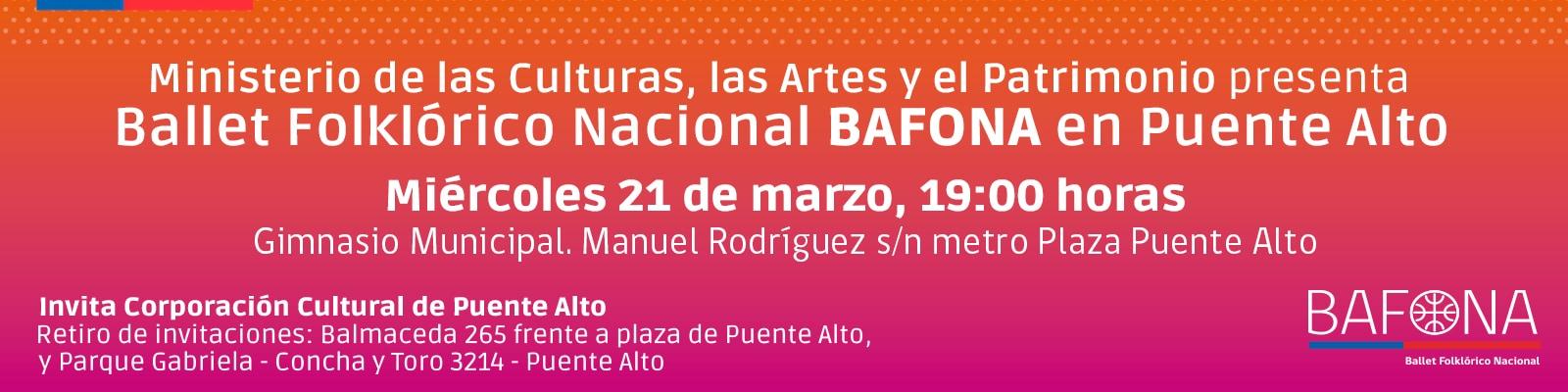 El Ballet Folklórico Nacional BAFONA se presentará en el Gimnasio Municipal de Puente Alto.