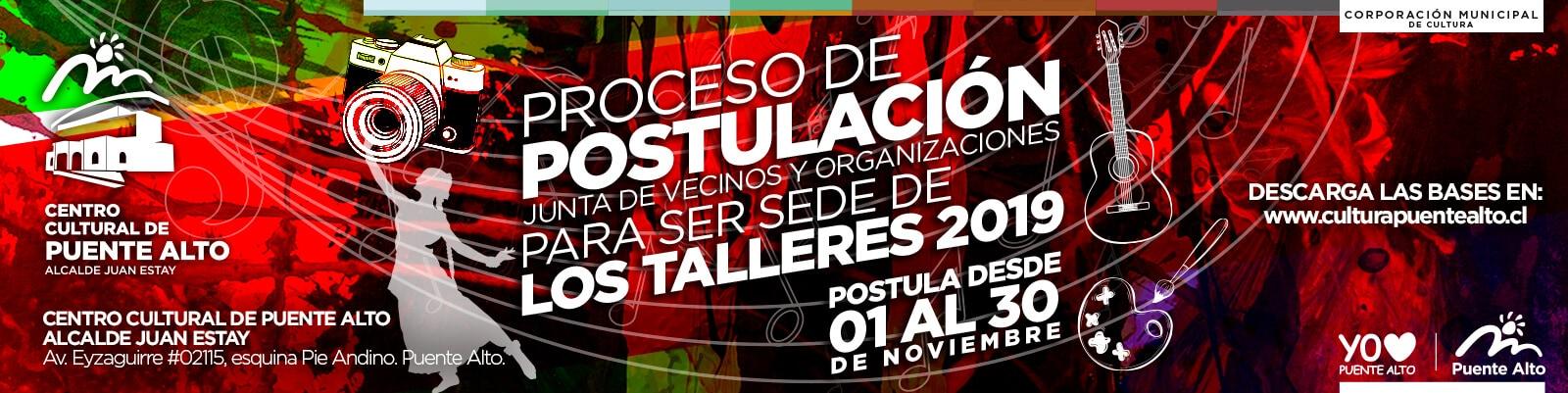 Postulación a Talleres Culturales 2019 para Juntas de Vecinos de Puente Alto.
