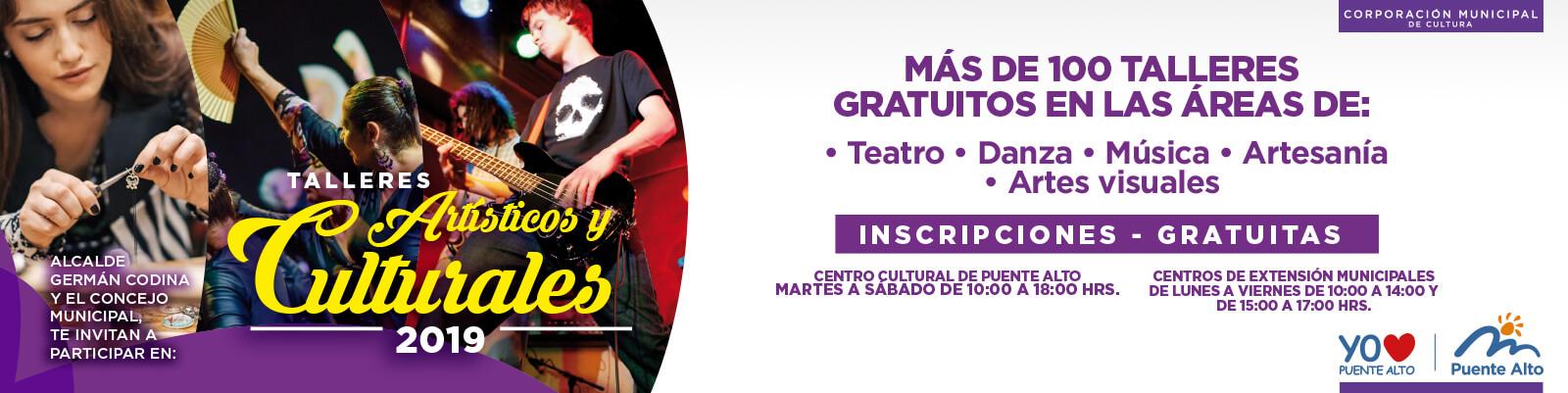 Nuevos cupos para Talleres Culturales 2019.
