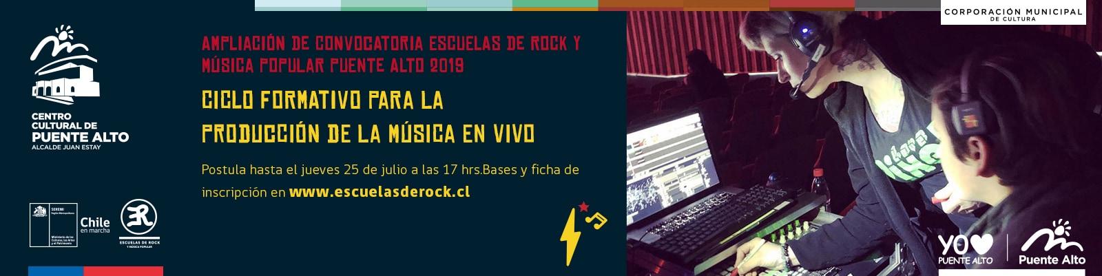 Participa en las Escuelas de Rock del Ministerio de las Culturas, las Artes y el Patrimonio.